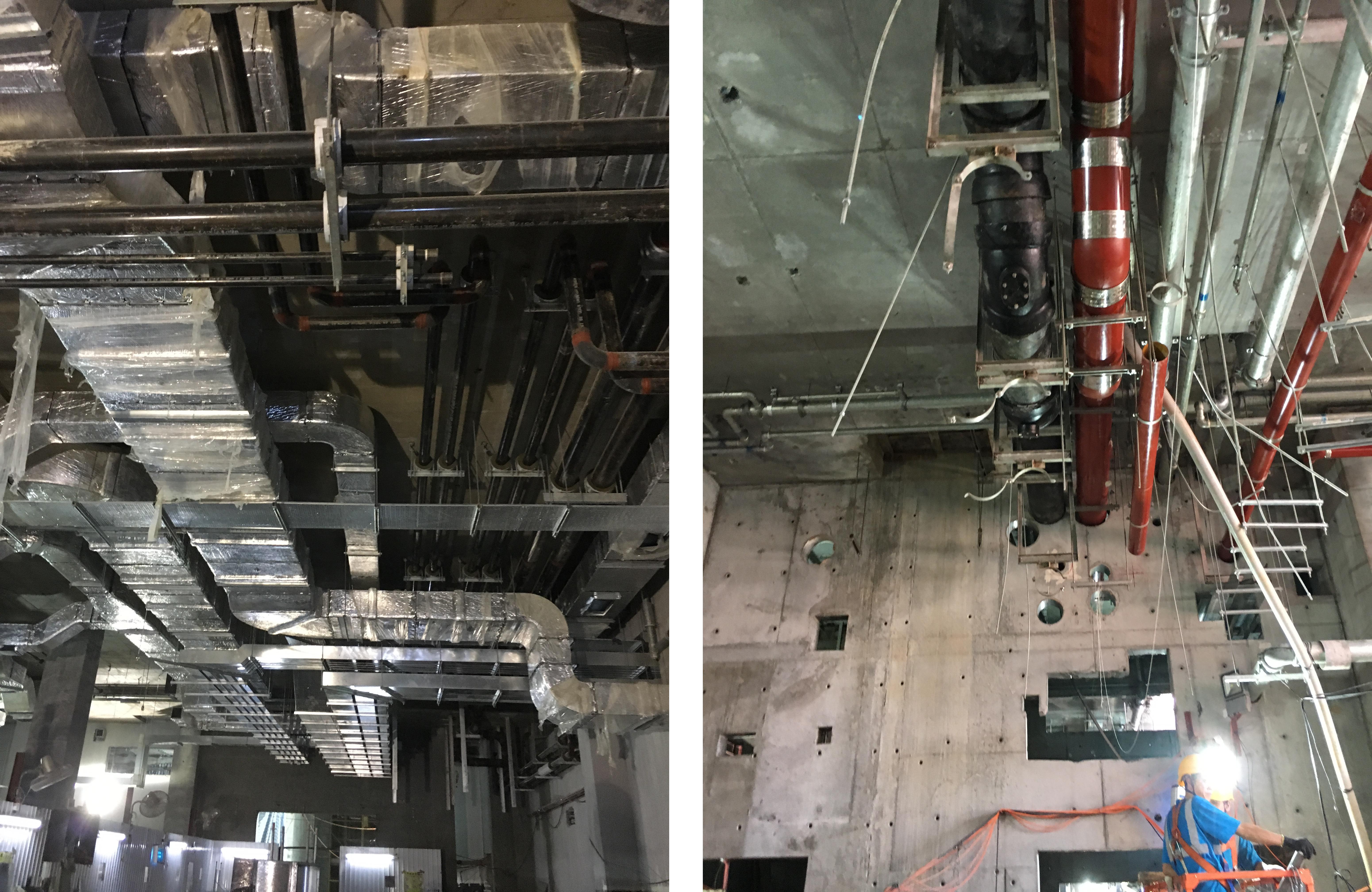 地庫展覽及工作室的管道也正處於安裝階段