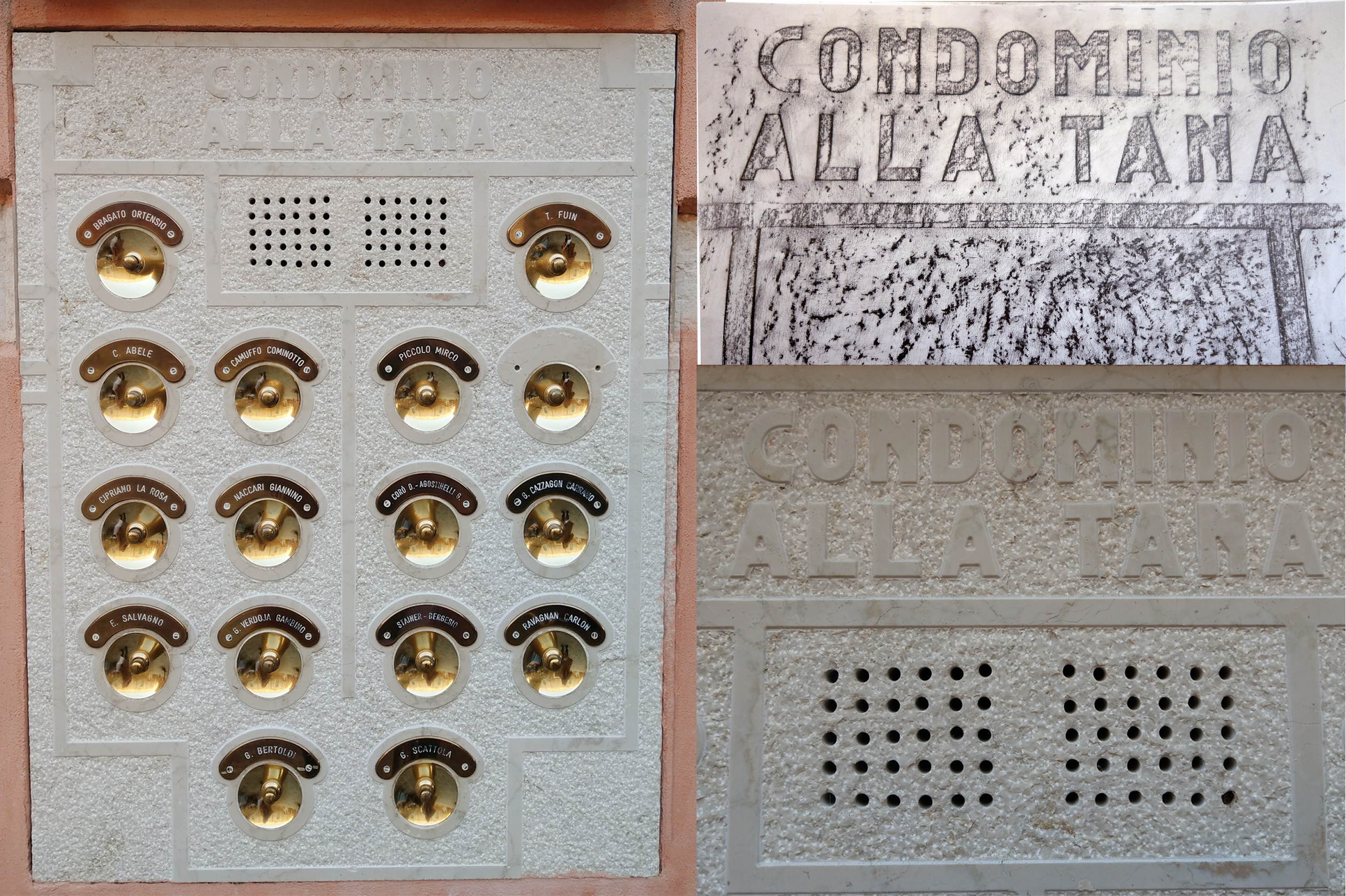 """CONDOMINIO ALLA TANA"", in English, meant ""a building shared by different families at a street named TANA."". The above 16 gold bells were arranged in symmetry form, with 8 belles on the either sides."