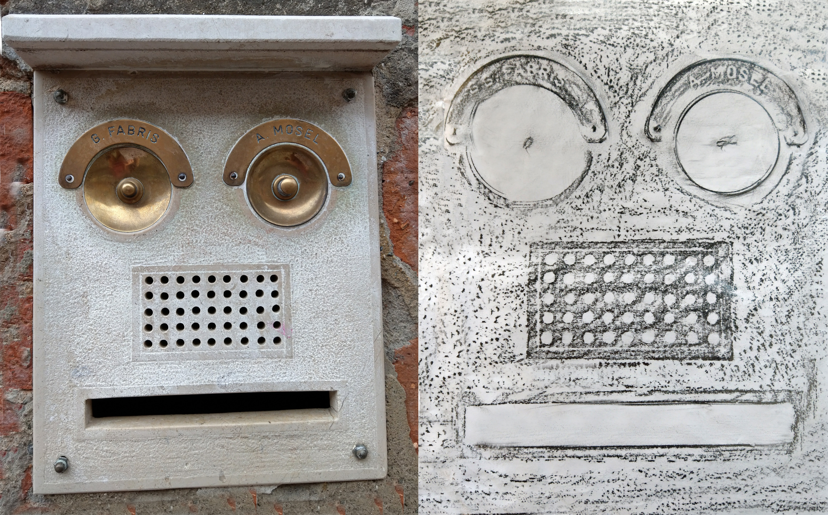 A typical Venetian bell intercom system.